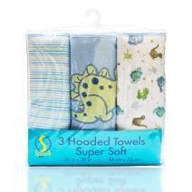 "Spasilk Soft Terry Hooded Towel Set, Blue Dino, 26"" X 30"", 3-Count"
