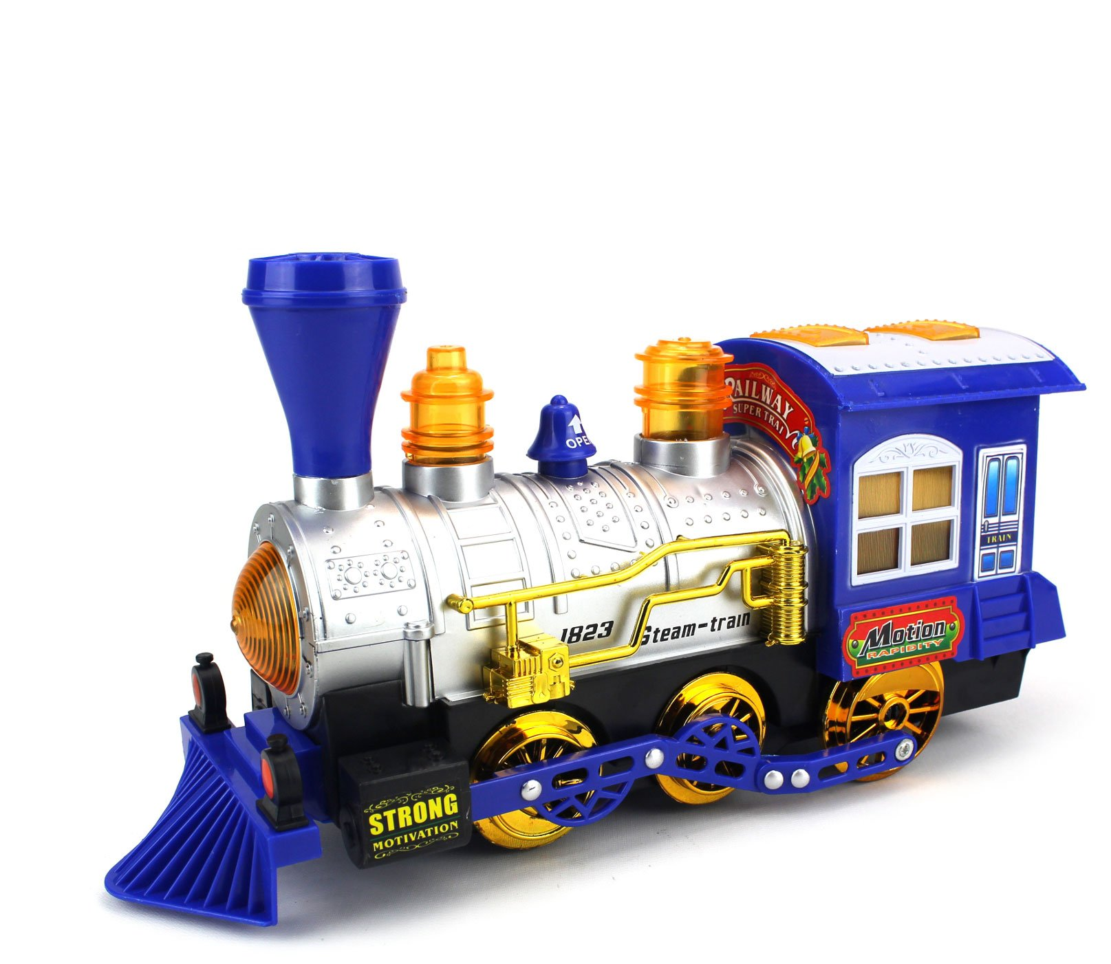 Blue Steam Train Locomotive Engine Car Bubble Blowing Bump & Go Battery Operated Toy Train w/ Lights & Sounds (Blue)