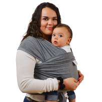 Baby Wrap Carrier for Plus Size Moms – Breathable Organic Baby wrap Bundle, Baby Shower Gift-Grey