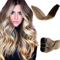 Ombre Sew in Weft Human Hair Chocolate Brown Roots to Golden Brown with Blonde Highlights Real Hair Extensions for Women Brazilian Straight Remy Human Hair Bundles 100 Gram 16 Inch Weave Extensions