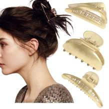 3pcs Acrylic Hair Claw Clips - Tortoise Barrettes Celluloid French Leopard Design Banana Clips (Golden)