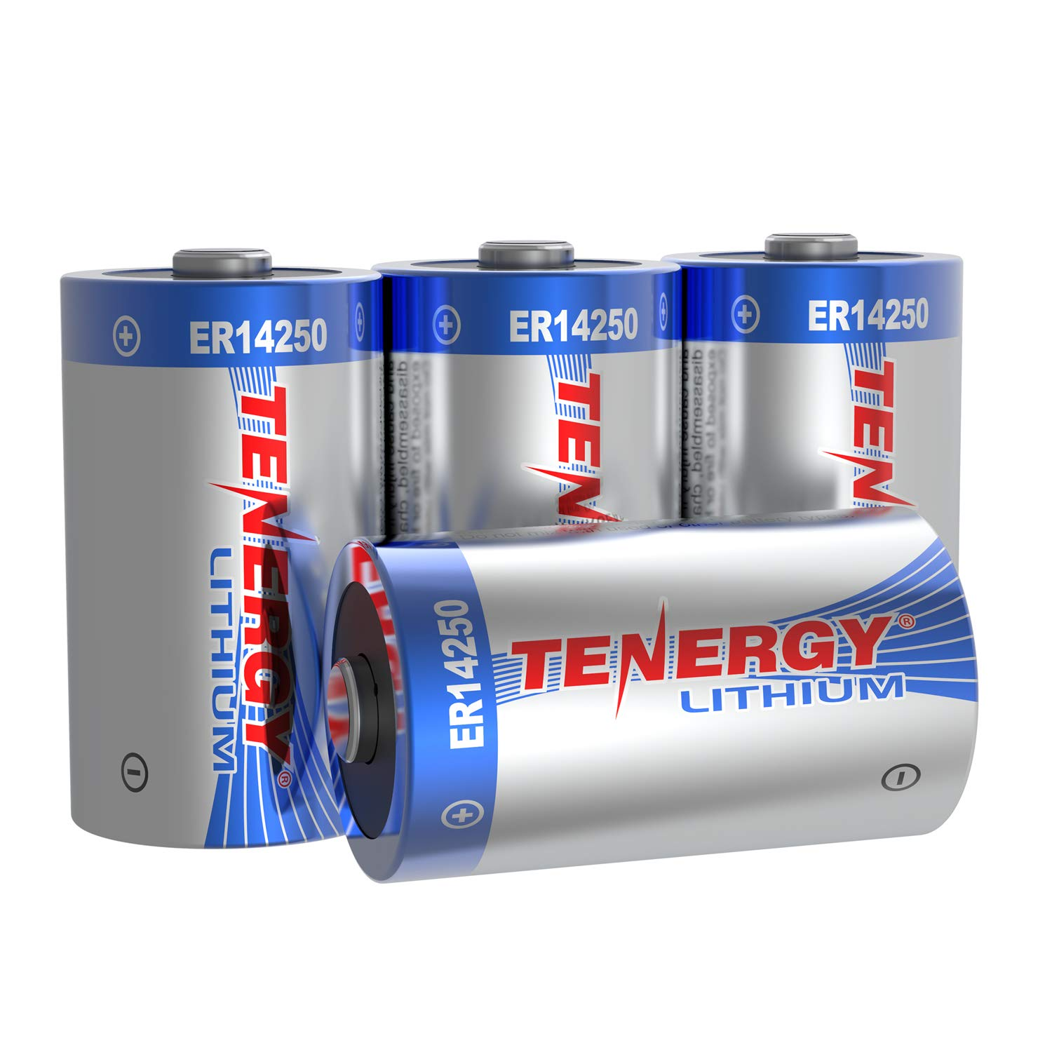 Tenergy High Capacity 3.6V 1/2 AA Lithium Battery, 1200mAh ER14250 Non-Rechargeable Batteries for Window Sensors, Alarm Systems, Home Security Sensors, Utility Meters, UL Certified, 4 Pack