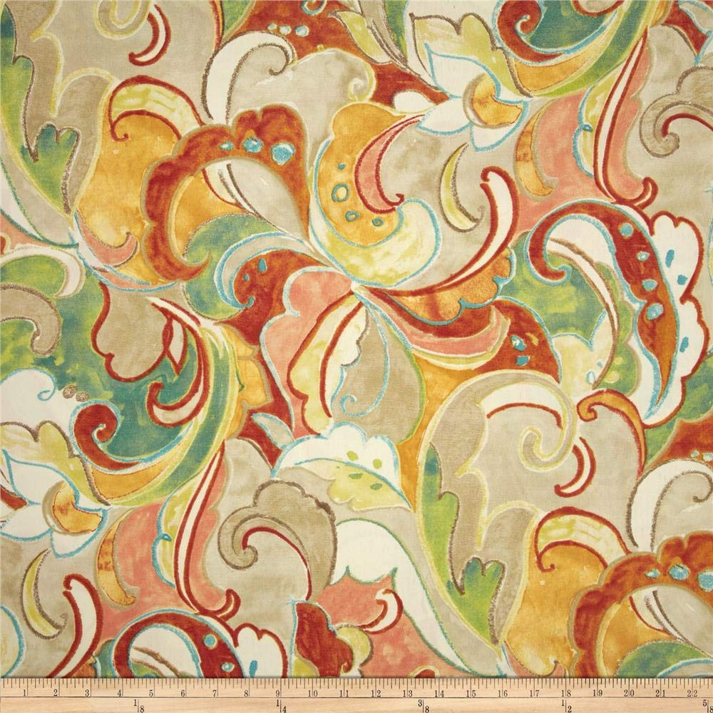 Swavelle/Mill Creek 0420416 Indoor/Outdoor Leena Apricot Fabric by the Yard