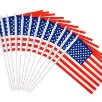 """Anley USA Stick Flag, American US 5x8 inch Handheld Mini Flag with 12"""" White Solid Pole - Vivid Color and Fade Resistant - United States 5 x 8 inch Hand Held Stick Flags with Spear Top (1 Dozen)"""