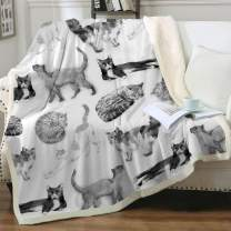 """Sleepwish Cat Fleece Throw Blanket Girls Kids Cute Animals Pet Sherpa Blanket for Bed Couch Chair Super Soft Warm and Comfy Cat Lover Gifts,Watercolor Vintage Black White Cats,King(108""""x90"""")"""