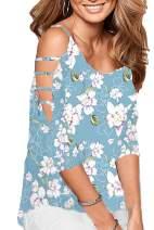 Roshop Women's Loose Hollowed Out Shoulder Floral Print BlouseTops