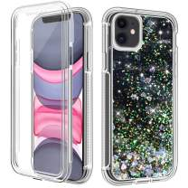 """LOEV iPhone 11 Case with Built-in Screen Protector, Sparkly Flowing Liquid Glitter Quicksand Full Body Protective Case Heavy Duty Shockproof Defender TPU Bumper Cover for iPhone 11 6.1"""", Black"""
