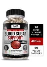 Kaya Naturals Blood Sugar Support Supplement, 60 Count Capsules, 20 Herbs, Alpha Lipoic Acid & Cinnamon (60 Capsules)