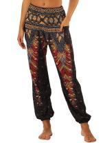GLUDEAR Women's Smocked Waist Harem Hippie Boho Yoga Palazzo Casual Pants