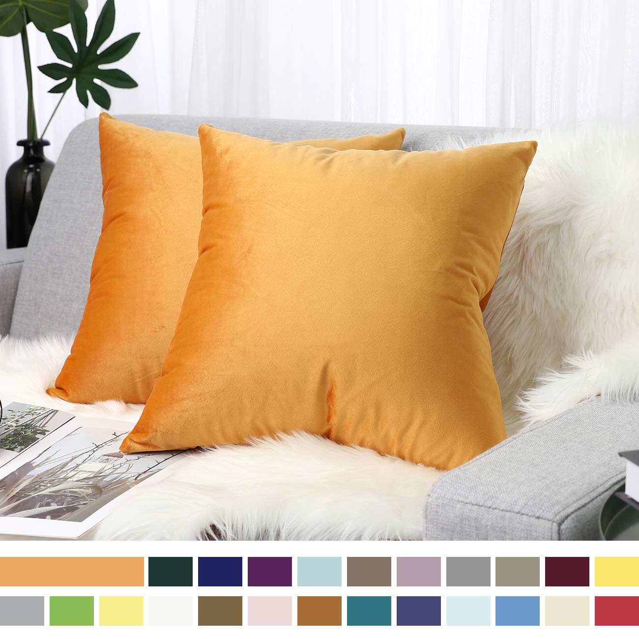 """Lewondr Velvet Soft Throw Pillow Cover, 2 Pack Modern Solid Color Square Decorative Throw Pillow Case Cushion Covers for Car Sofa Bed Couch Home Decor, 18""""x18""""(45x45cm), Orange"""