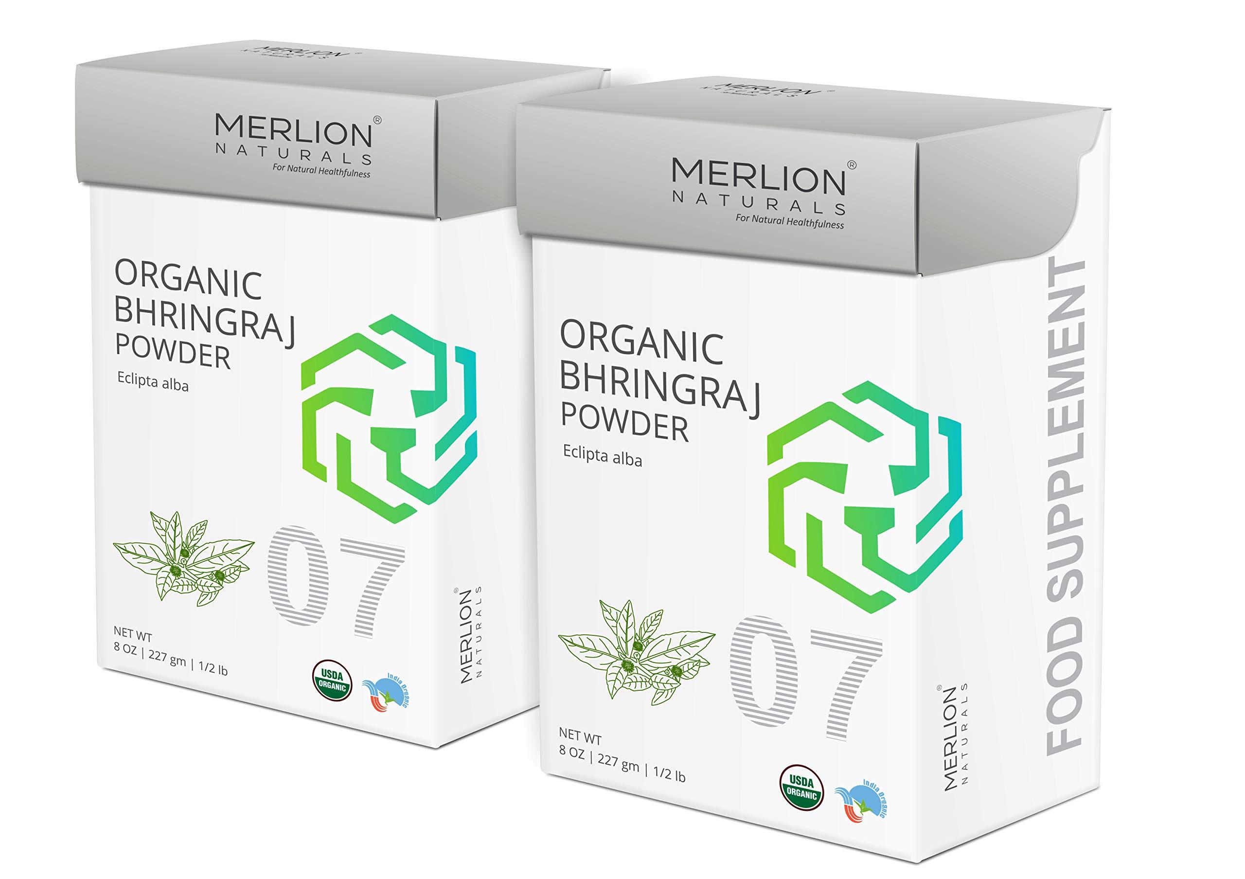Organic Bhringraj Powder by Merlion Naturals | Eclipta alba/False Daisy (16 OZ (2 Pack of 8 OZ))