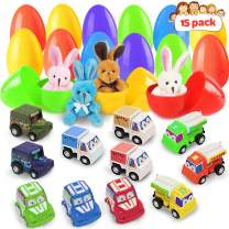 Toy Easter Eggs, 15 Pack Filled Easter Eggs with Different Pull Back Vehicles Rabbits, Construction Toys Sets, Building Educational Toys for Kids Game Party Favors, Surprise Easter Eggs
