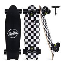 "BELEEV Cruiser Skateboard for Beginners, 27""x8"" Complete Skateboard for Kids Teens & Adult"