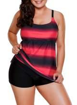 KEASUZY Womens Plus Size Swimsuit Halter Tankini Top and Skort Bottom Set Bathing Suits