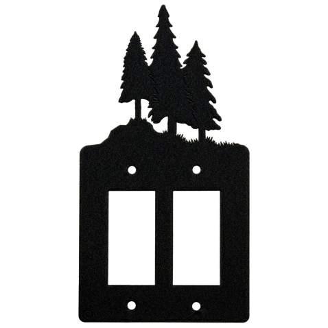 3 Pine Trees Double Gang Light Switch Wall Plate Double Rocker Gfci Black