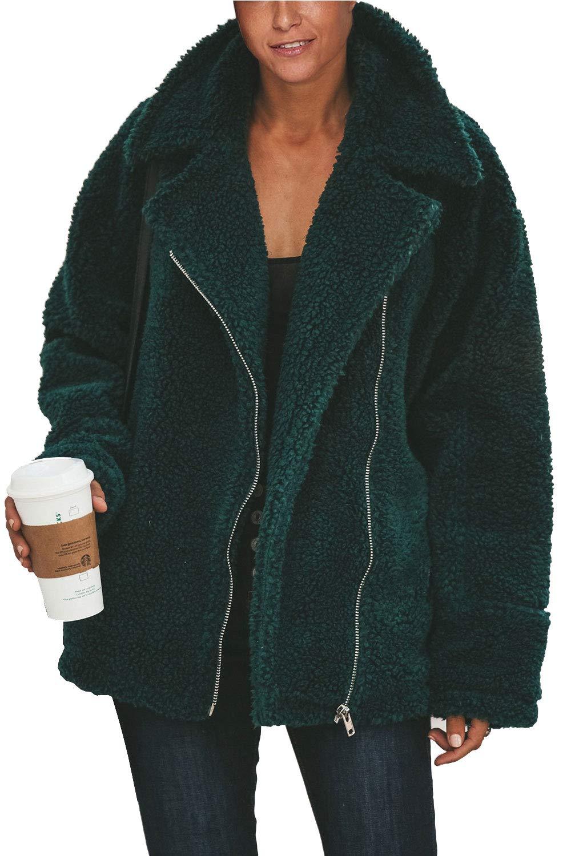 Fixmatti Women's Fuzzy Faux Shearling Zip UP Long Sleeve Oversized Jacket Coats with Pockets