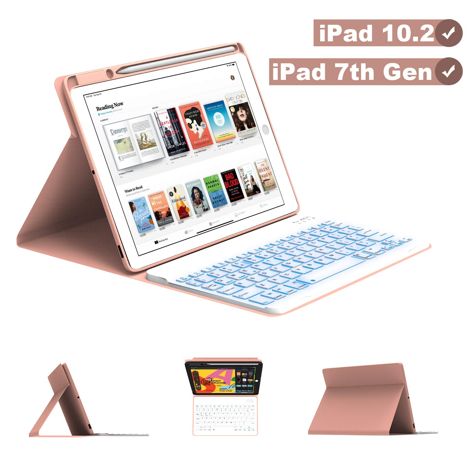 Maxfree iPad Keyboard Case for iPad 7th Generation 10.2 2019, 7 Colors Backlit, Magnetically Detachable Auto Sleep Keyboard with Pencil Holder, Full Folio Cover for iPad 10.2 Inch, Rose Golden