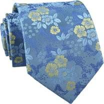 Men's Necktie Jacquard Tie Classic Flower Necktie & Pocket Square Cufflinks Set