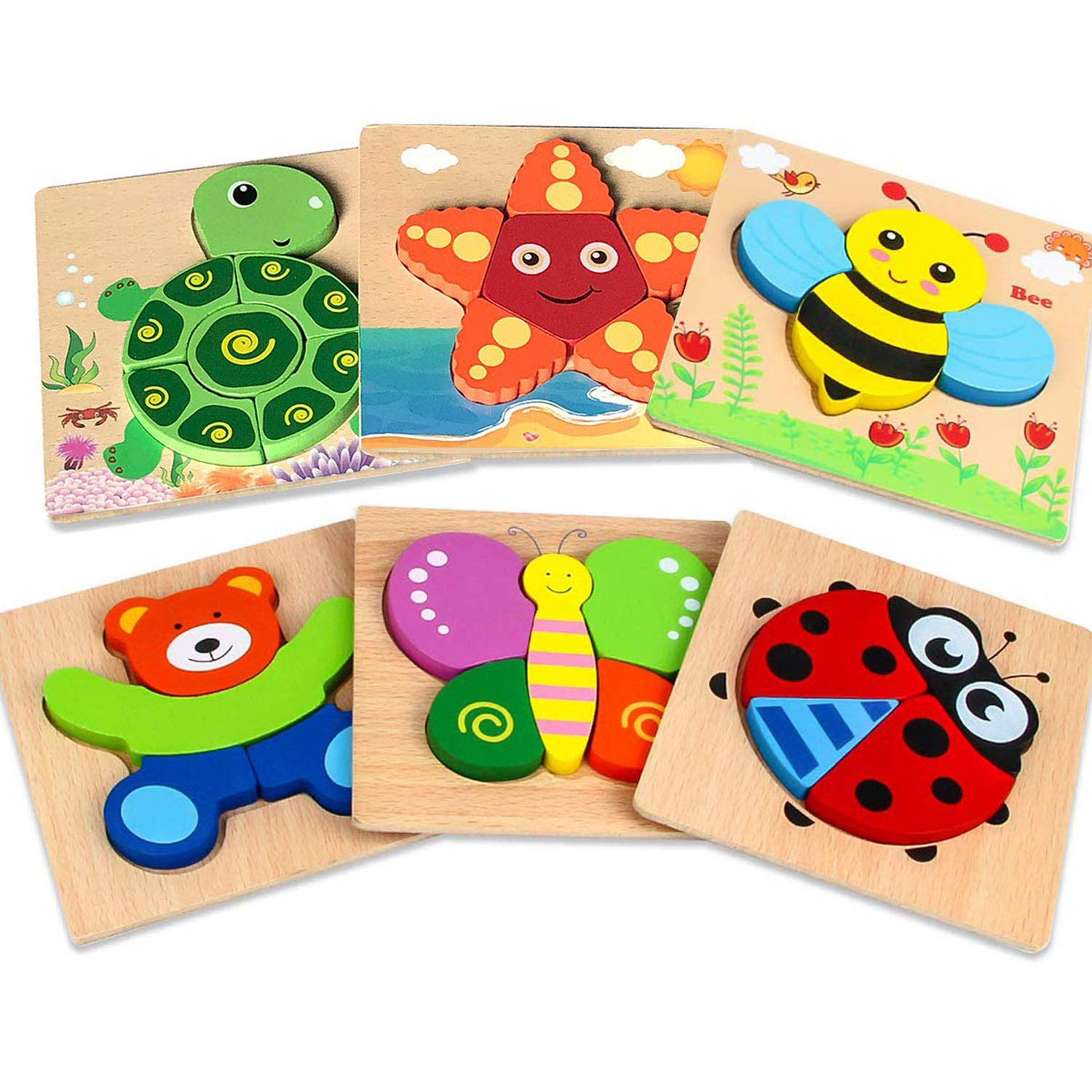 DDMY Wooden Jigsaw Puzzles Set for Kids Age 1 2 3 4 Year Old, [6 Pack] Animals Puzzles for Toddler Children for Color Shapes Cognition Skill Learning Educational Puzzles Toys for Boys and Girls Gifts