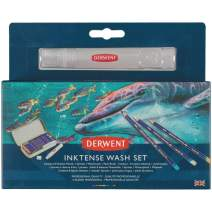 Derwent Inktense Wash Set, Includes 8 Inktense Pencils, 1 Spritzer, 1 Waterbrush, 1 Paint Brush (2302584)