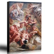wall26 - Oil Painting of Minerve Et Lamour by Peter Paul Rubens - Baroque Style - Angels, Catholic, Christianity - Canvas Art Home Decor - 16x24 inches