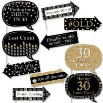 Big Dot of Happiness Funny Adult 30th Birthday - Gold - Birthday Party Photo Booth Props Kit - 10 Piece