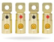 InstallGear 1/0 AWG Gauge Gold Ring Set Screw Battery Ring Terminals (4 Pack)