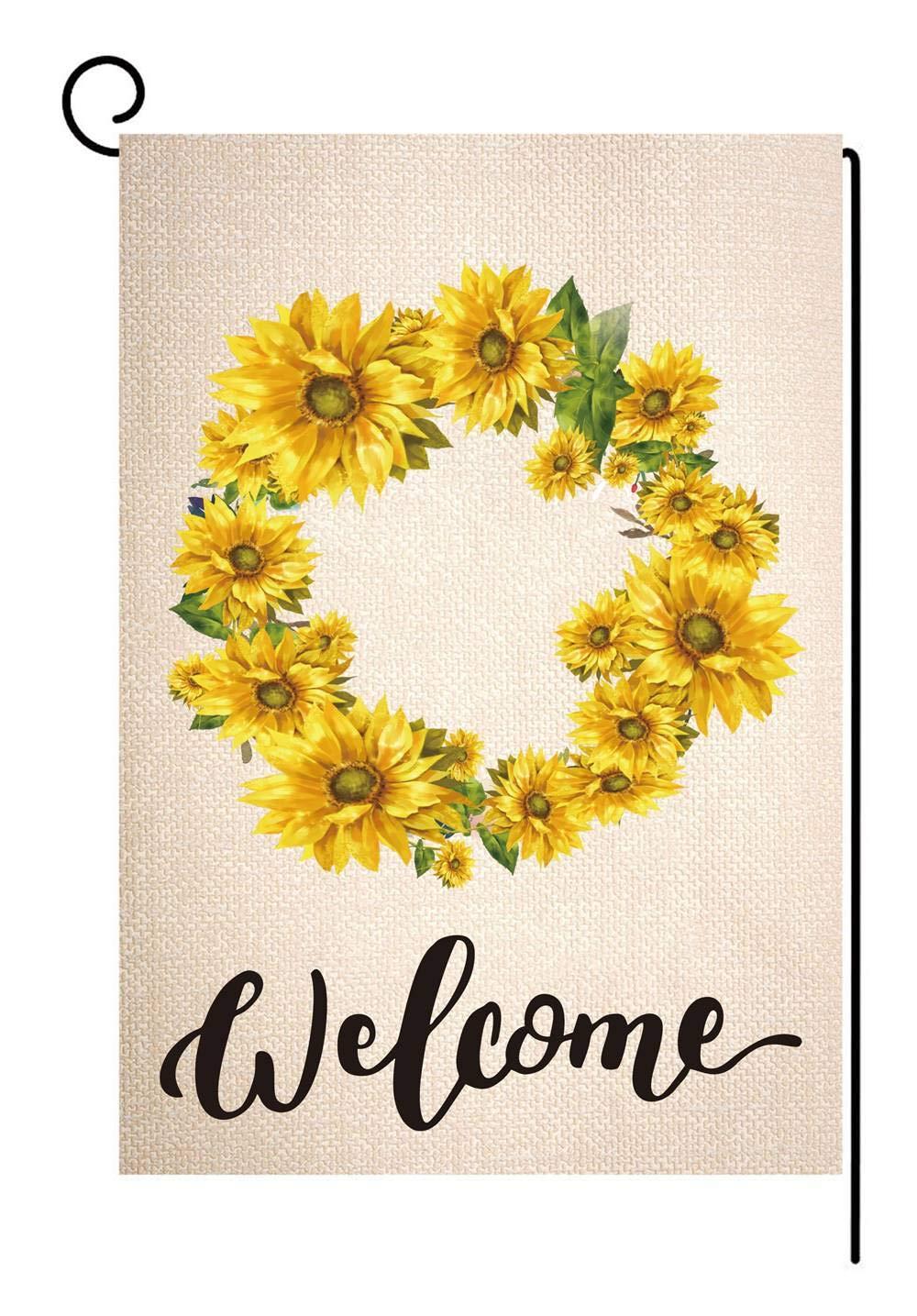 STYLEZONE Sunflower Wreath Small Garden Flag Vertical Double Sided Summer Fall Farmhouse Burlap Yard Outer Decor 12.5 x 18 Inch