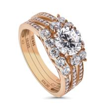 BERRICLE Rose Gold Plated Sterling Silver Round Cubic Zirconia CZ 3-Stone Anniversary Engagement Wedding Ring Set 2.35 CTW