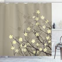"Ambesonne Japanese Shower Curtain, Retro Flourishing Twiggy Eastern Blossoms Botanical Metaphoric Concept, Cloth Fabric Bathroom Decor Set with Hooks, 75"" Long, Beige Brown"