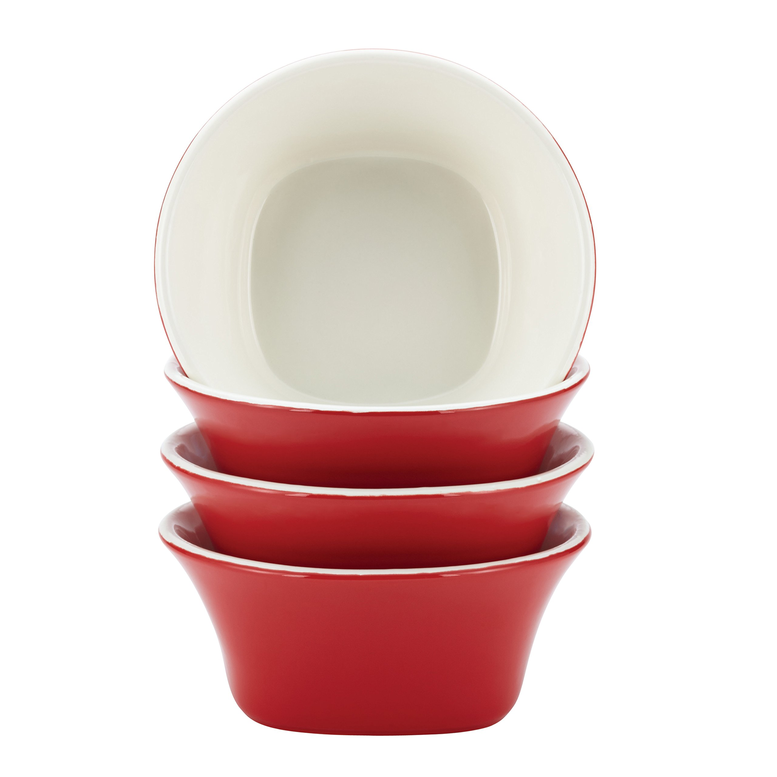 Rachael Ray Dinnerware Round & Square 4-Piece Stoneware Fruit Bowl Set, Red