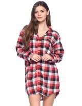 Ashford & Brooks Women's Flannel Plaid Sleep Shirt Button Down Nightgown