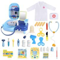 YOZEB Doctors Set for Kids,42 PCS Toy Doctors Kit and Doctor Pretend Role Play Costume DIY Painting Toy Bag for Boys and Girls,Best Gift for Children