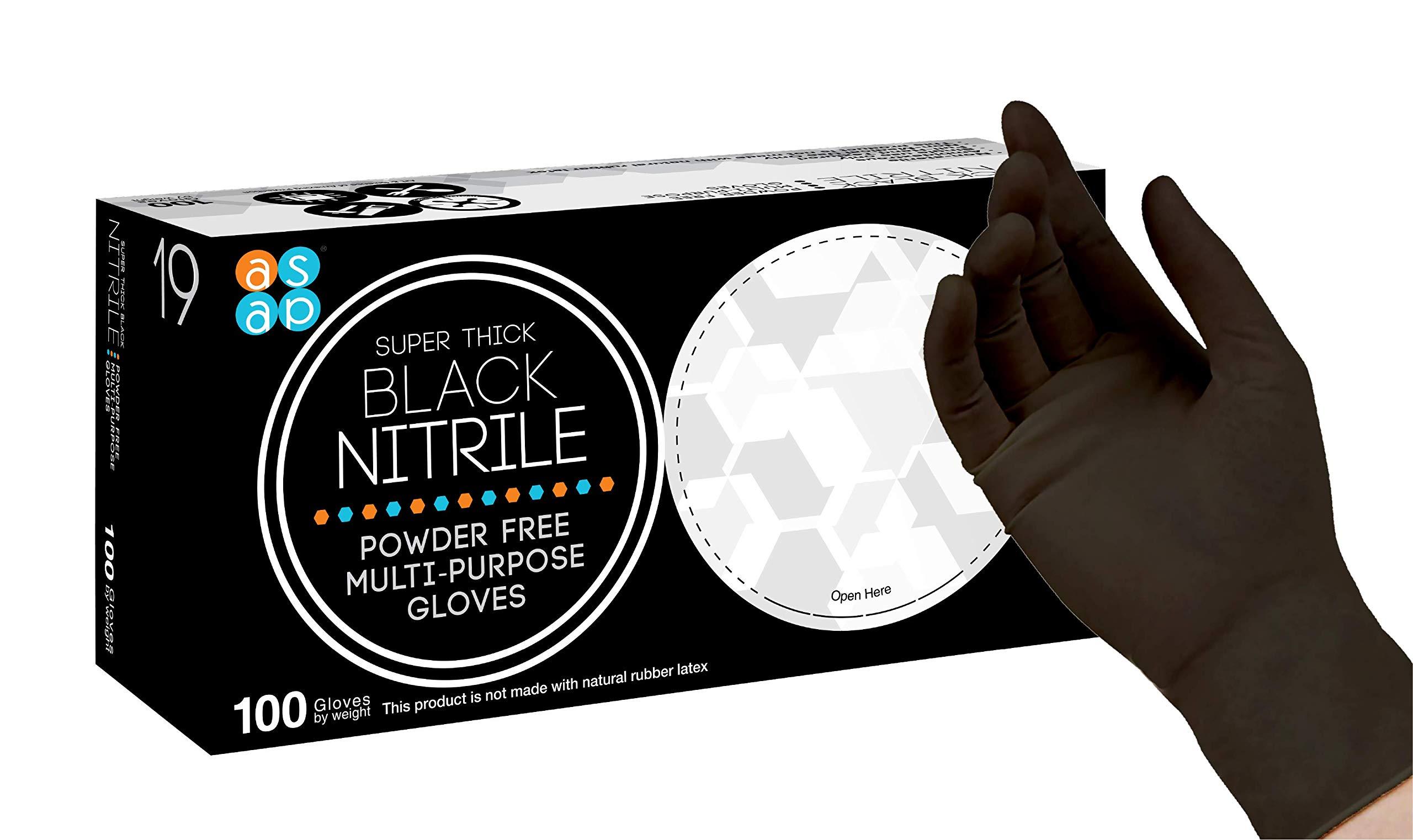 ASAP Black Nitrile Powder Free Industrial Multi-Purpose Gloves, Disposable, 5.5 mil, Black (XX-Large - Box of 100)