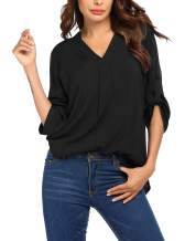 Beyove Blouses for Women Roll-Up 3/4 Sleeve Shirt Tunic V Neck Casual Office Blouses Tops S-XXL