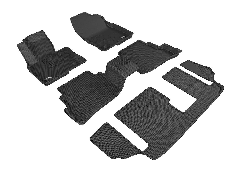 3D MAXpider Mazda CX-9 CX9 2016-2020 Custom Fit All-Weather Car Floor Mats Liners, Kagu Series (1st & 2nd & 3rd Row, Black)