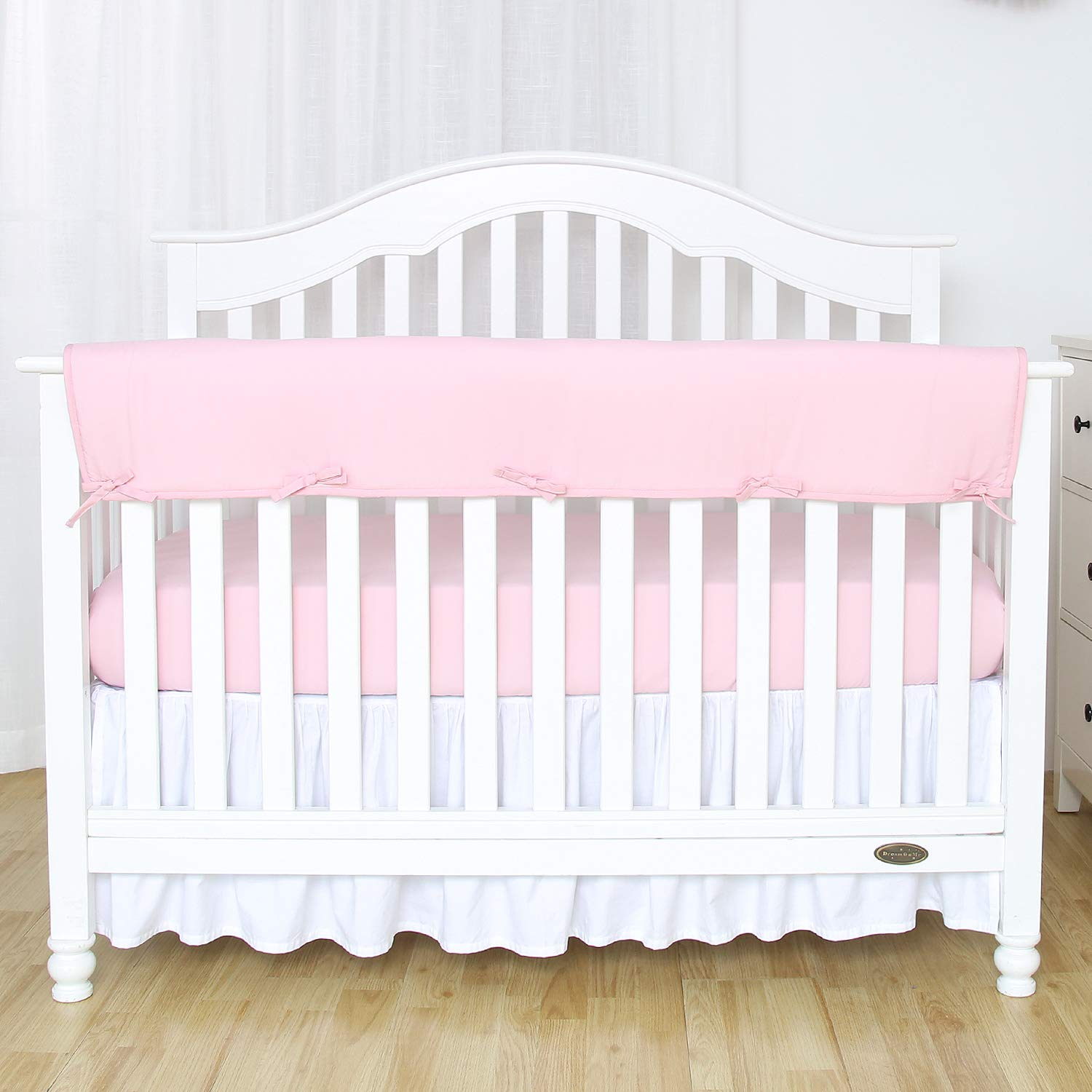 """TILLYOU 1-Pack Padded Baby Crib Rail Cover Protector Safe Teething Guard Wrap for Long Front Crib Rails(Measuring Up to 18"""" Around), 100% Silky Soft Microfiber Polyester, Reversible, Lt Pink/White"""