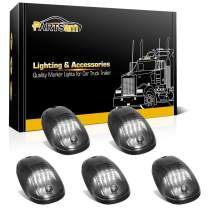 Partsam 5pcs Smoke Cab Marker Top Roof Running LED Light Assembly w/16LED White Cab Light Compatible with Dodge Ram 1500 2500 3500 4500 5500 2003-2018 Pickup Trucks