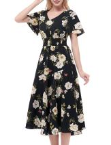 Gardenwed Floral Chiffon Dresses for Women Flowy Homecoming Cocktail Dress Casual Beach Sun Dress Black Small Flower M
