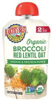 Earth's Best Organic Stage 2 Baby Food, Broccoli Red Lentil and Oat, 3.5 oz. Pouch (Pack of 12)