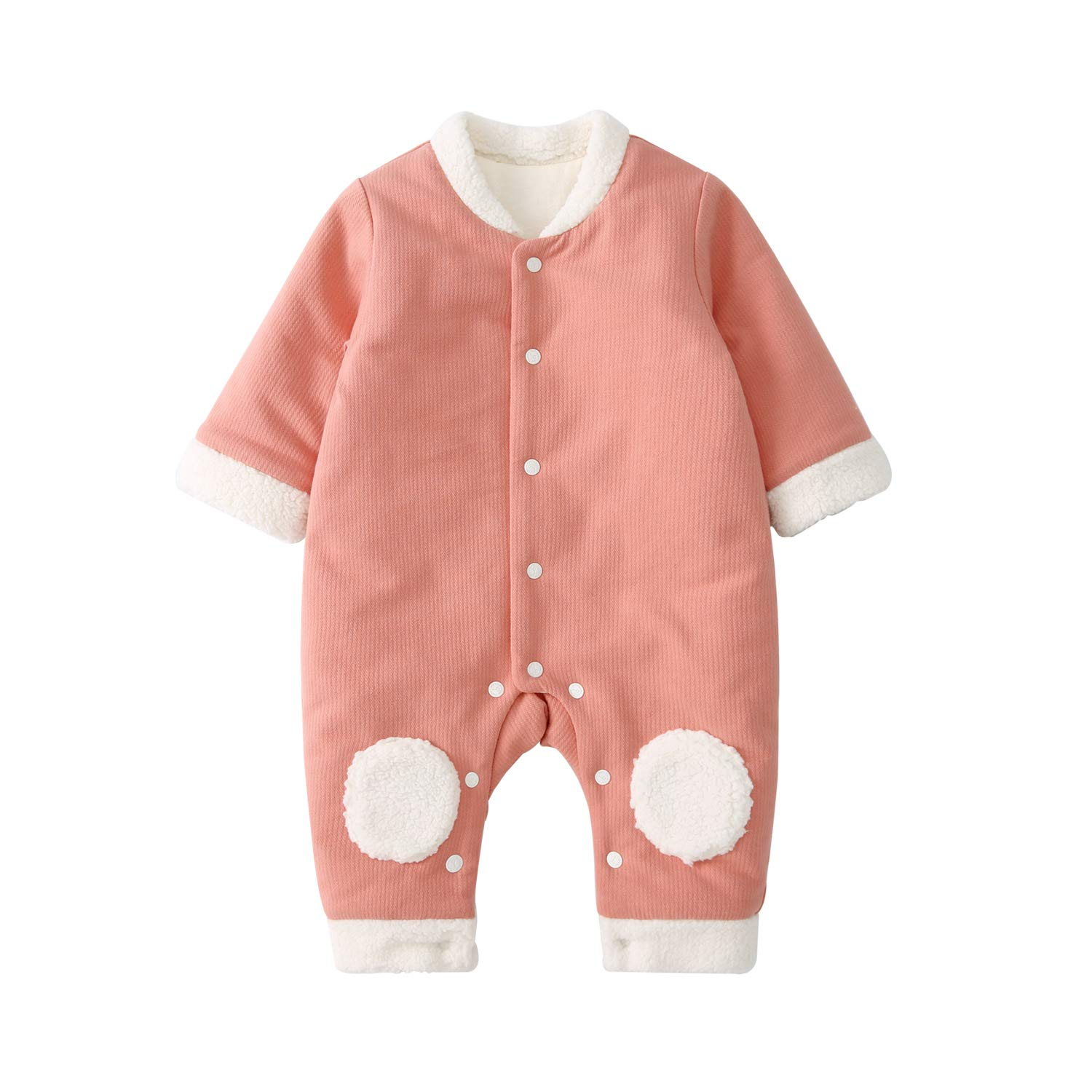 pureborn Unisex Baby Cute Cartoon Quilted Cotton Lined Winter Jumpsuit 0-24 Months