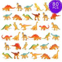 Euclidean Cube 80-Pack Small Dinosaurs Toys Set Tiny Dinosaurs Figures Plastic Dinosaurs for Kids Party Cake Toppers and Easter Eggs