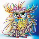 MXJ DIY Special Shape 5D Diamond Painting by Number Kits Rhinestone Round Drill Picture Art Craft for Home Wall Decor Colored Owl 12x12In