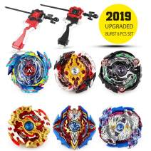 Innoo Tech Combat Gyro Battling Top Bey Burst, Evolution Combination Series 4D, Set of 6 Fighter Gyroscope 4D Fusion Model, 2 Throwers Set with Launcher, Best Gift for Children Kids Toys