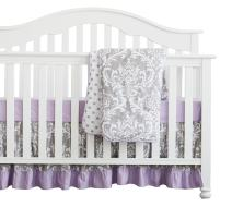 3 pcs Set Boho Floral Ruffle Baby Minky Blanket Baby Nursery Crib Skirt Set Baby Girl Crib Bedding (Grey Purple)