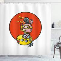 """Ambesonne Yellow Submarine Shower Curtain, Little Alien Cartoon in Spaceship with Periscope Over Red Moon Planet Kids, Cloth Fabric Bathroom Decor Set with Hooks, 70"""" Long, White Red"""