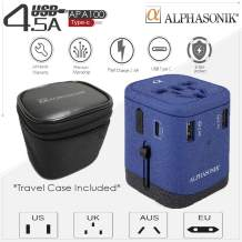 Alphasonik APA100 Worldwide Universal International Travel Power Adapter AC Wall Charger Plug 4 USB Ports Type-C Fast Charging 3.0A for USA European Cell Phone Tablet Laptop iPhone W/Travel Case