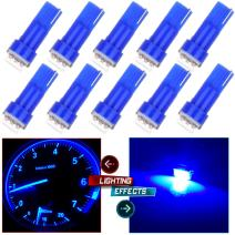 cciyu 10pcs T5 74 17 37 58 85 LED Light Bulbs Instrument Panel Dashboard Light Bulbs,Ice Blue