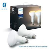 Philips Hue White Ambiance 2-Pack BR30 LED Smart Bulbs, Bluetooth & Zigbee compatible (Hue Hub Optional), recessed cans/downlights, Works with Alexa & Google Assistant – A Certified for Humans Device