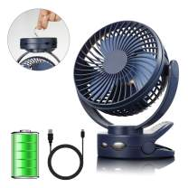 efluky Clip on Fan,Battery Operated Stroller Fan,4 Speeds Rechargeable Powered Mini Desk Fan,Portable USB Fan for Baby Stroller Crib,Camping, BBQ Outdoor Indoor Activity, Blue
